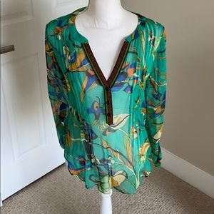 Hale Bob sheer bright blouse